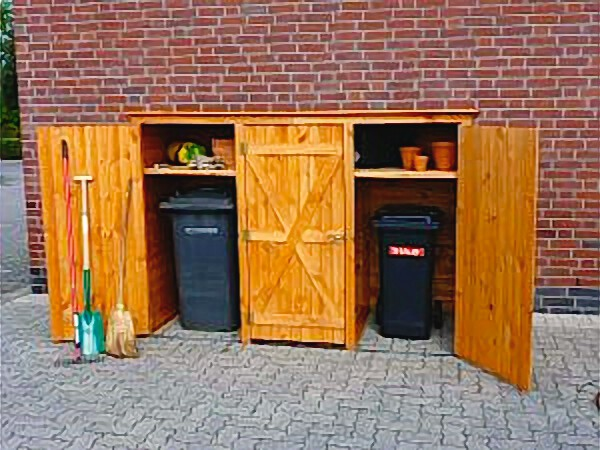 holz m lltonnenschrank 3t rig ger teschrank gartenschrank m lltonnenaufbewahrung haus garten. Black Bedroom Furniture Sets. Home Design Ideas