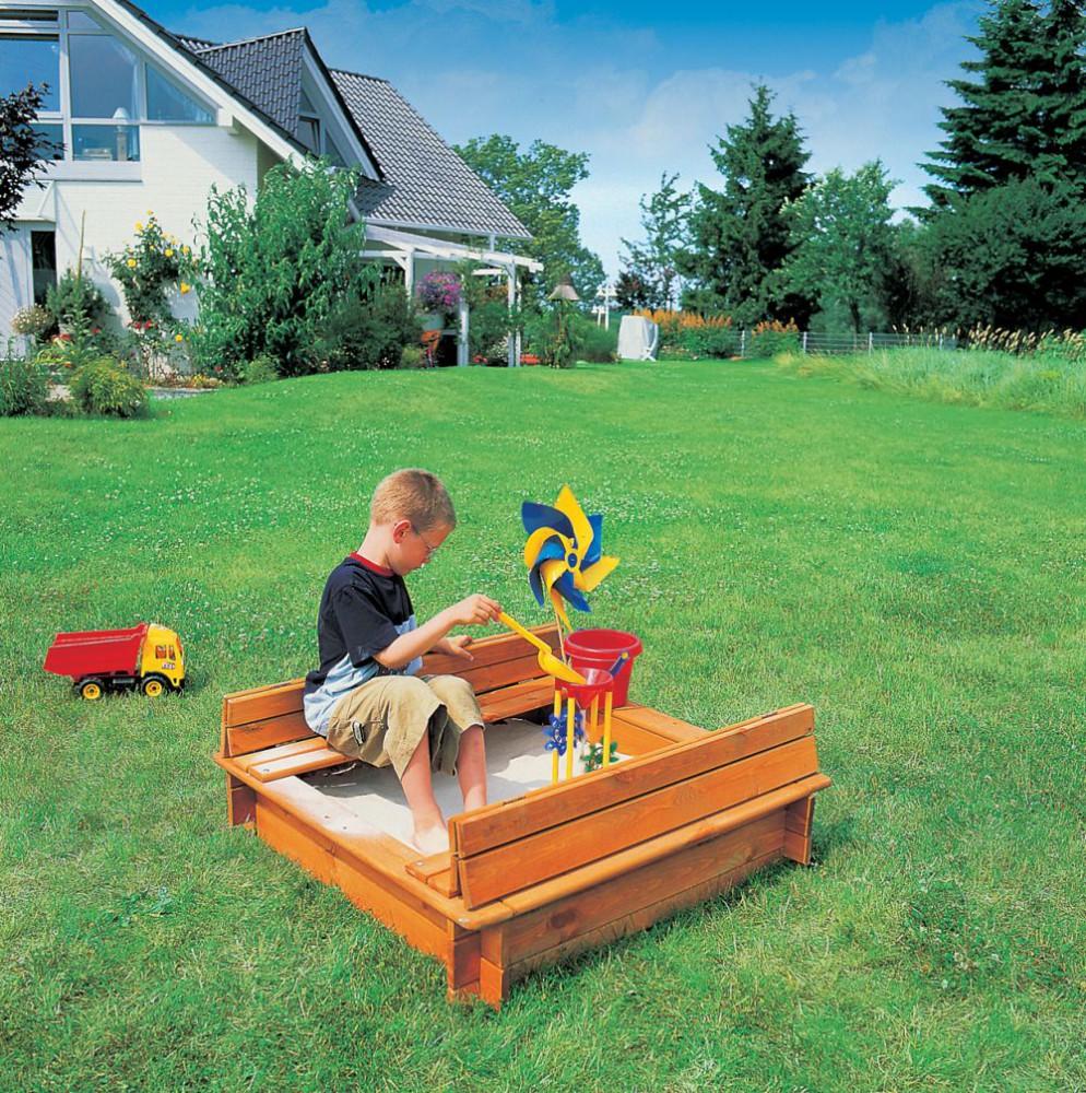 sandkasten modell donald 1 x 1 m impr gniertes holz gartenspielzeug haus garten spielzeug. Black Bedroom Furniture Sets. Home Design Ideas