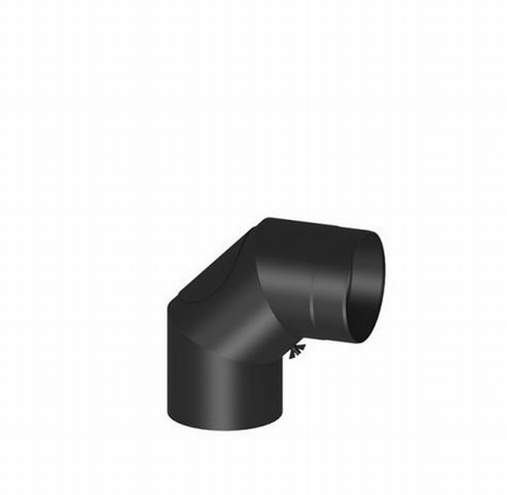 Ordentlich Rauchrohr-Bogen 0-90° verstellbar Ø 150 mm schwarz mit Tür  PJ25