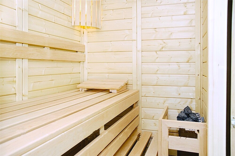Luxus Massivholz Mini Sauna 180 X 130 X 200 Cm Polarfichte 45 Mm 5eckig U2013