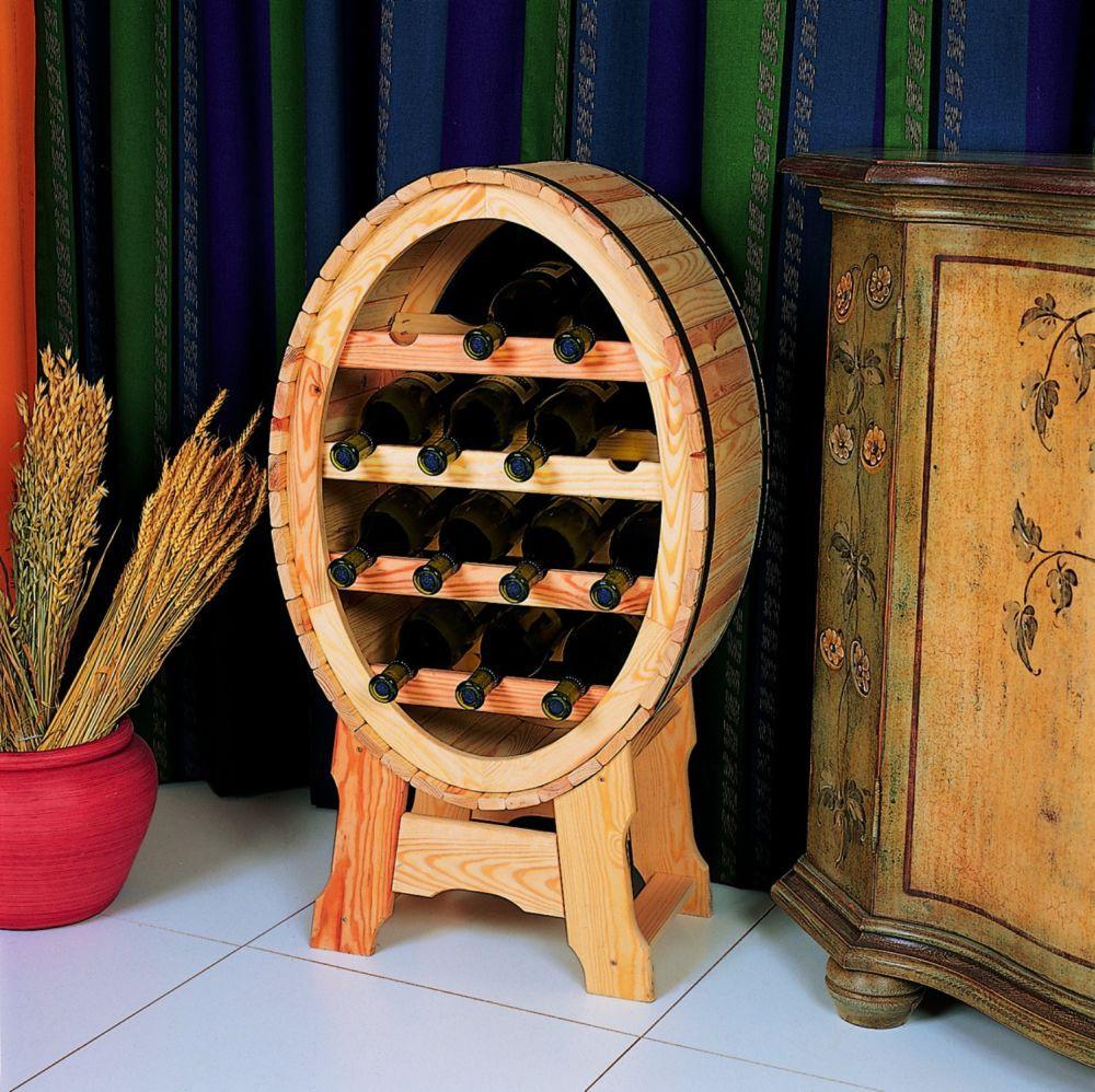 Dekoratives weinregal f r 14 flaschen deko weinfass h 90 for Flaschen deko garten