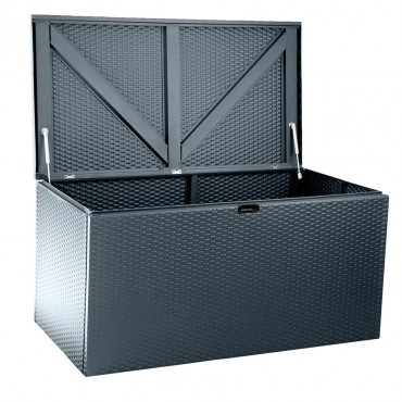 Arrow Metall-Gerätebox Linz 0,91m² Korbmöbel-Optik Kissenbox anthrazit Gartenbox – Bild 7